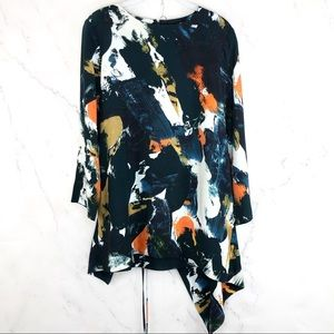 Cos Asymmetric abstract Wrap tunic Top Sz 10